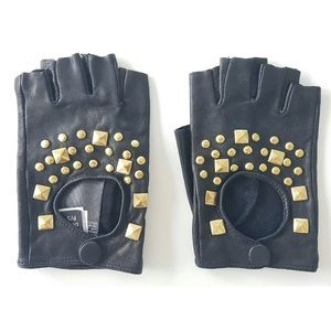 Bebe RARE Fingerless Leather Gold Stud Gloves
